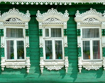 Decorative Russian Window Photography. Woodwork. Dacha, cabin. Ancient architecture. Green, white. Lacy. Russia.