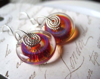 lampwork earrings, glass discs, borosilicate glass, wire wrapped, sterling silver, twisted wire, candies64, women jewelry