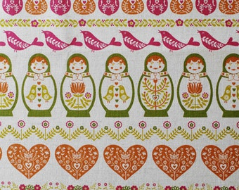 Matryoshka doll and cute design - Japanese fabric - red
