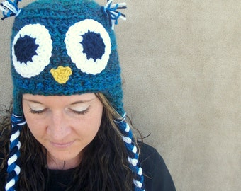 CHRISTMAS in JULY SALE - Owl Hat in Peacock - Woodland Bird Animal Hat for Grown Ups, Women's Ornithology Hat