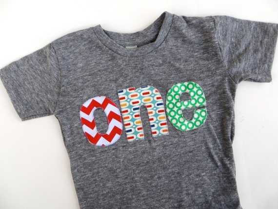 one chevron, pez, green circles 1st Birthday T Shirt  triblend grey first Birthday Shirt