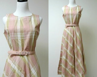 M.D.L. NY . vintage full skirt dress . size 6 petite . made in USA