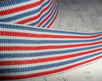 1.5 inch wide Twill Red, Whtie and Blue Woven Striped Ribbon Trim