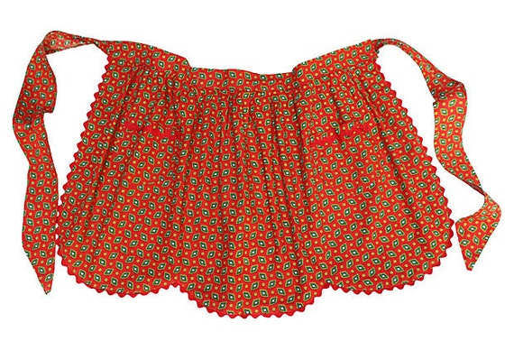 Vintage Half Apron - Red with Ric Rac - Scallop Edging - Pretty Red Apron with Pockets