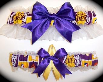 Los Angeles Lakers Wedding Garter Set   Handmade    Keepsake and Toss Bridal pg1