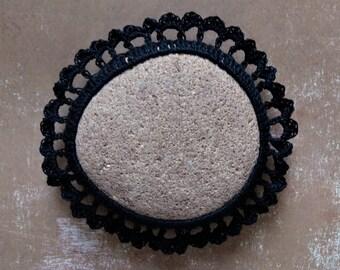 Crochet Lace Stone, Black, Original, Handmade, Table Decoration, Tribal, Art Object, Collectibles, Home Decor