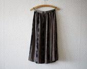 vintage 1980's silky boho folk grey darkish pattern skirt
