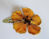 Mustard Yellow Flower Barrette, Yellow Barrette, Flower Snap Barrette