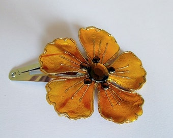 Mustard Yellow Flower Barrette, Yellow Barrette, Flower Snap Barrette