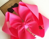Hair Bow - Big Girl Hairbows - Large Boutique Bow - Hot Pink Bow