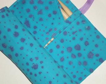double pointed knitting needle case - organizer  - crochet hook - organizer - 28 pockets - turquoise and purple batik