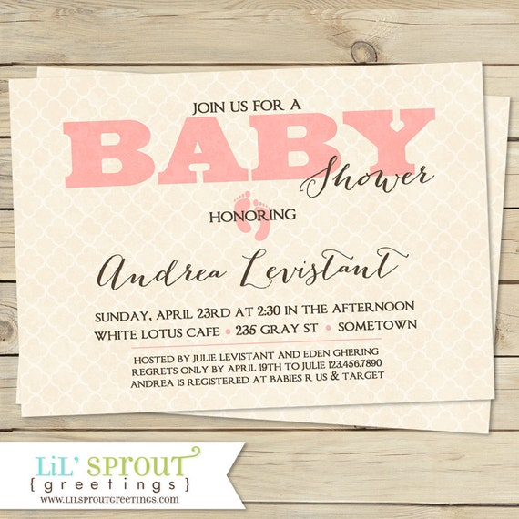 Vintage themed baby shower invitation pink blue or green by lil il570xn filmwisefo