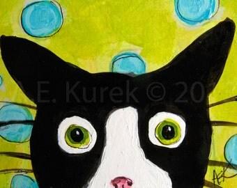Tuxedo Cat Art Print - Tuxedo Cat Print - Silent Mylo Tuxedo Cat Seeing Spots - Cat Gift Idea