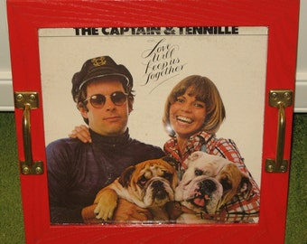 Recycled Picture Frame Vintage Record Album Cover Tray Art - Captain & Tennille, home decor, bulldog, red