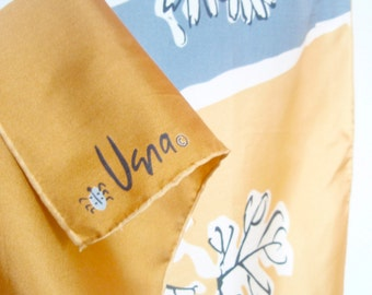 Sumi-e Brushed Gold- a vintage 1960's Vera Neumann Lucky Ladybug pure silk scarf