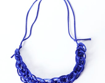 Cobalt blue 'knitted' satin cord necklace - short