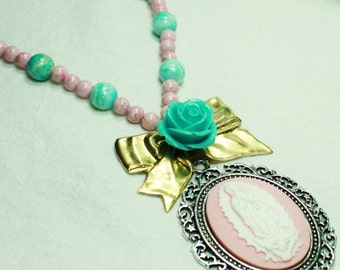 Lady of Guadalupe, Bow and Rose Necklace in Pink and Turquoise