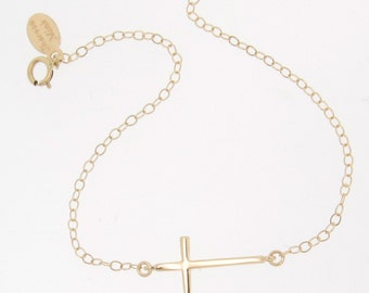 Gold Cross BRACELET, Sideways Cross - 14K Solid Gold Yellow, White or Rose Gold Handmade by Theresa Mink