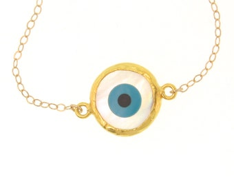 """Lucky Evil Eye Necklace- 18"""", 14K Gold Filled, Mother of Pearl, Celebrity Style Jewelry"""