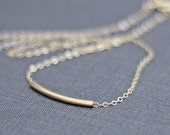Curved Gold Bar Necklace / Sliding Bar Necklace / 14K Gold Fill / Layering Necklace