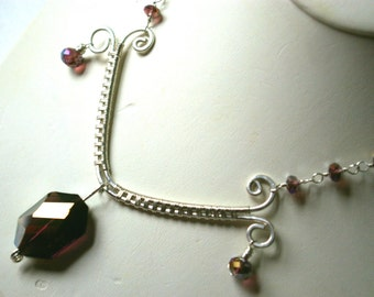 Sterling Purple Crystal Necklace