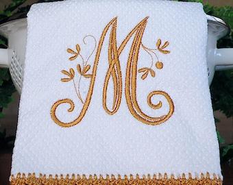 Monogrammed Dish Towel, Monogrammed Kitchen Towel Tan Crocheted Edge Towel,