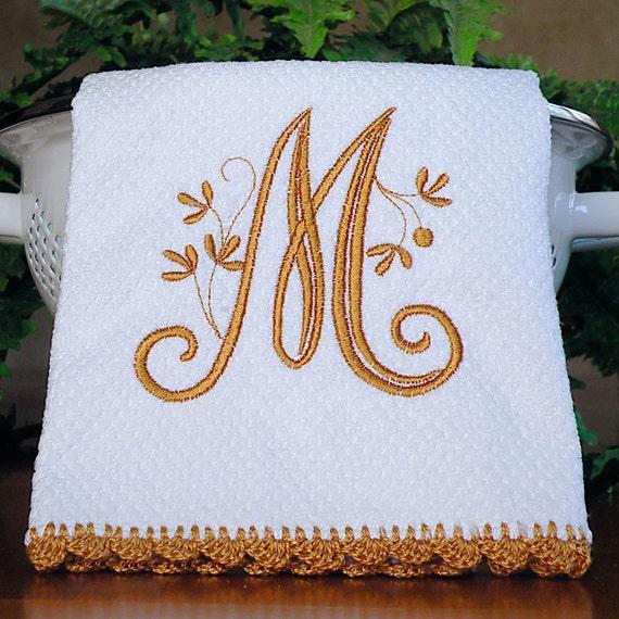 Tan Monogrammed Dish Towel
