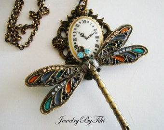 Steampunk Dragonfly Necklace, Unique Jewelry, Watch Time Piece, Jeweled Summer Winged Bug, Rhinestones, USA Handmade