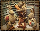 NEW Primitive E-PATTERN  Roly Poly Rabbit Doll Carrots Eggs 2 size