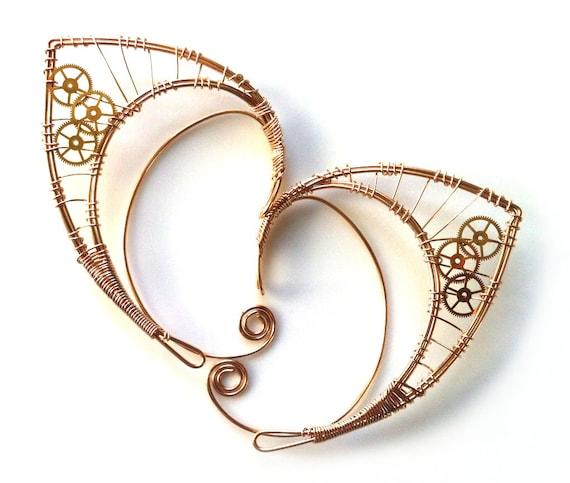 Custom-made bronze elf ears