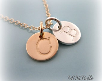 Two Initial Charms. Personalized Initial Necklace. Gold and Silver Initial Necklace. Mom Necklace. Mothers Necklace