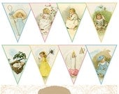 Printable Victorian Mother Goose Banner and Bonus Icicle Box