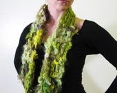 Chartreuse Lime Green Infinity Scarf in Natural Wool  by Krisztina Lazar