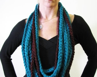 Sea Green and Wine infinity scarf cowl chunky crochet wrap necklace by Krisztina Lazar
