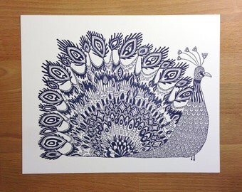 Fancy Peacock- Letterpress Art Print