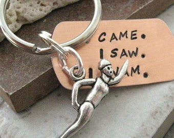 Swimmer's Keychain, I Came, I Saw, I Swam, swimmer gift, swimming coach gift, optional initial disc, swimmer keychain, see all pics