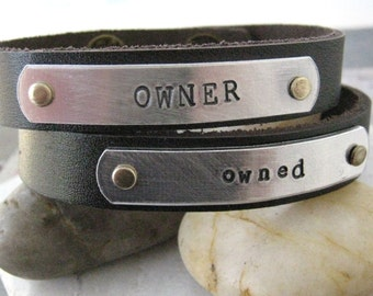 Owner and Owned Bracelet Set of 2 Personalized Leather Cuff Bracelets, BDSM bracelets, BDSM gifts, choose metal, wording, font, and color
