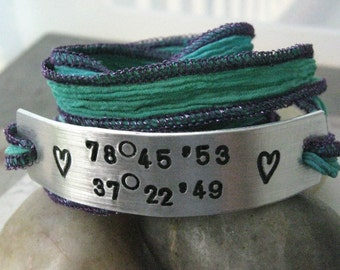 Latitude Longitude Wrap Bracelet, hand dyed silk ribbon in shades of blue, green, and aqua, personalize this great gift