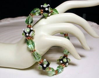 Copper Peridot Crystal and Lampwork Glass Bracelet - ENCHANTMENT