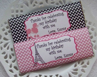 Printable Personalized Paris Poodle Birthday Large Candy Bar Wrappers