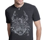 Men's dark Gray Heather Samurai Tiger T shirts