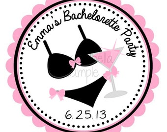 Bachelorette Party Personalized Stickers, Address Labels, Gift Tags, Party Favors, Party Favors, Birthday, Seals- Set of 12