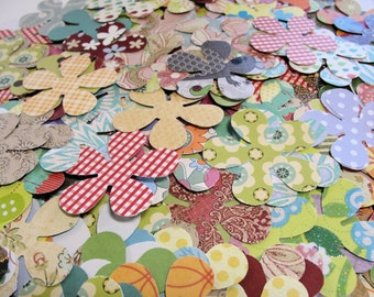 50 Chunky Paper Flowers for Scrapbooking, Cards, Tags and More
