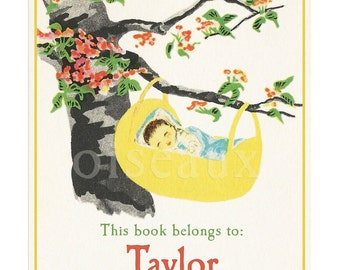 Personalized Bookplates - Vintage Rock-A-Bye Baby - New Baby Gift, Baby Shower, Baby's First Library