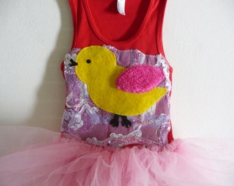 Yellow Bird TANK TOP TUTU - Birthday tutu or just for fun - infant sizes, 2t, 4, 6, 8 an up
