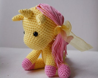 Amigurumi Crochet Unicorn Pattern - Peachy Rose the Unicorn - Stuffed Doll - Plush