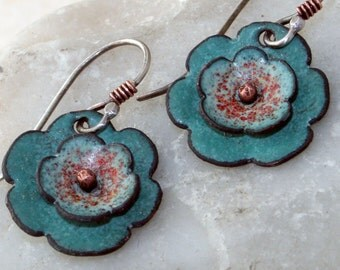 Turquoise Green Flower Artisan Made Earrings - Copper Enamel