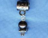 Silver & Black Pearl Lrg Hole Bead Fits All European Styles of  Add a Bead Charm Bracelet Jewelry AAB-Gm036