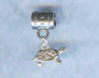 Sterling Silver Turtle Lrg Hole Bead Fits All European Add a Bead Charm Bracelet Jewelry Pnd-1394