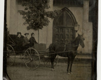 1/4 Quarter Plate Tintype Outdoor Scene Three Women in their Horse Drawn Wagon in Front of a Church Scotts Corners NY